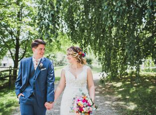 """We wanted everything to feel like a big party in our backyard,"" Kathleen Mooney (28 and a board game manufacturer) says of her laid-back wedding to K"