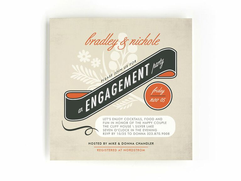 Vintage retro engagement party invitation