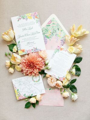Whimsical Wedding Invitations with Bright Floral Design
