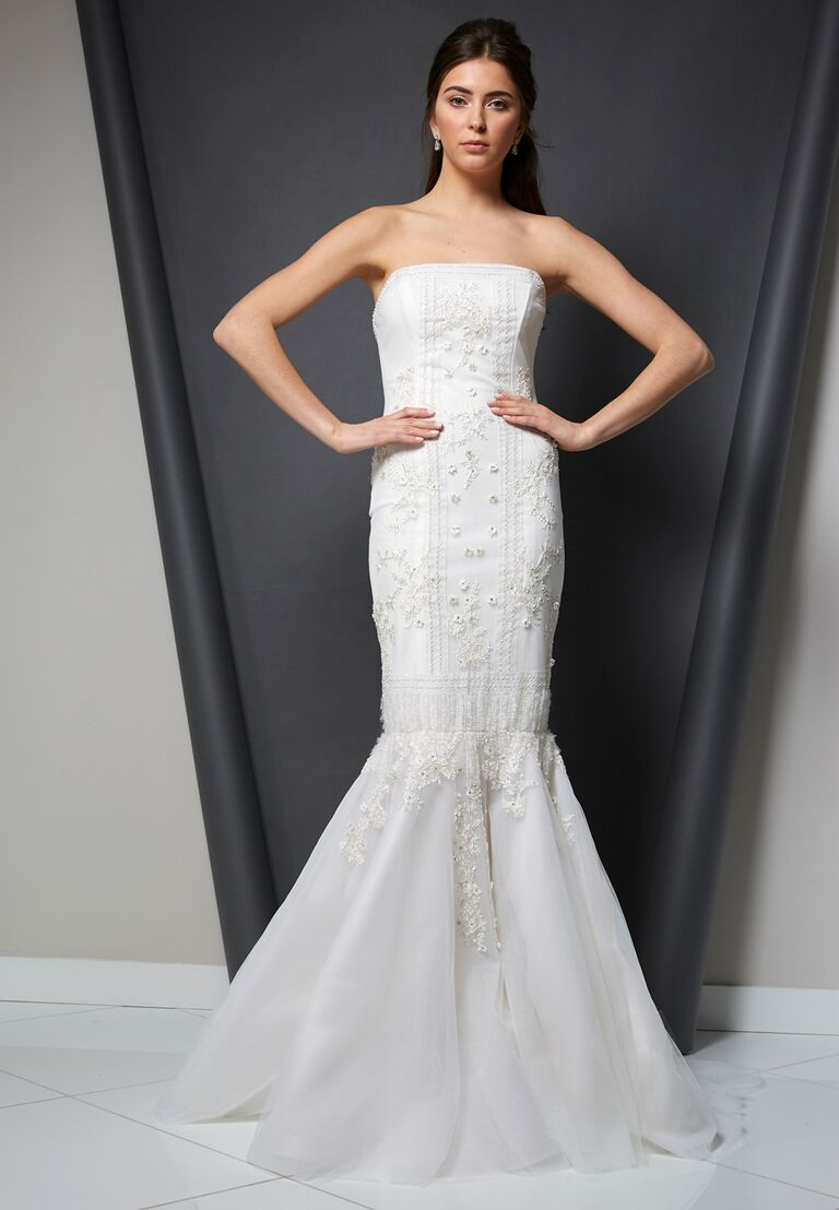 Randi Rahm Spring 2020 Bridal Collection strapless embroidered fit-and-flare wedding dress