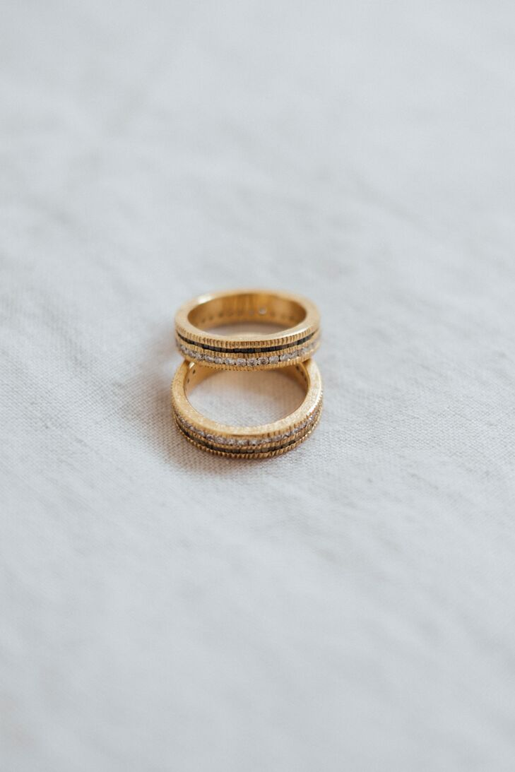 Modern Gold Wedding Bands with Diamonds