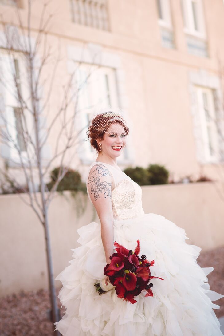 "A local designer, Teresa Romero Atelier, made Courtney's wedding dress. ""My inspiration was an Oscar de la Renta dress that Emma Watson wore to the final Harry Potter movie premier,"" says the bride."