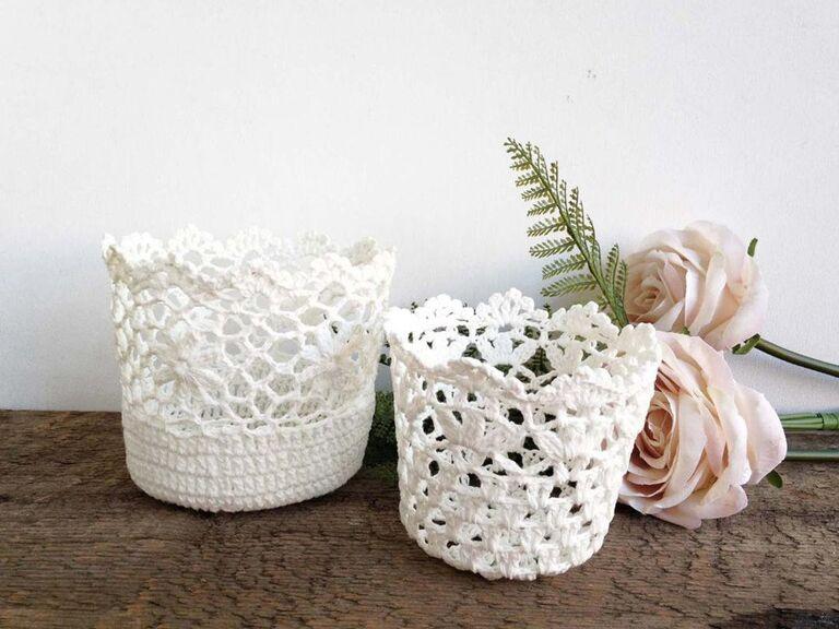 lace paper flower basket