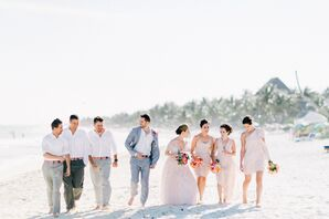 Blush and Gray Casual Wedding Party