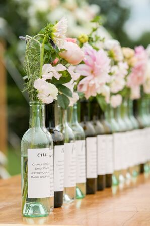 Wine Bottle Bud-Vase Table Assignments
