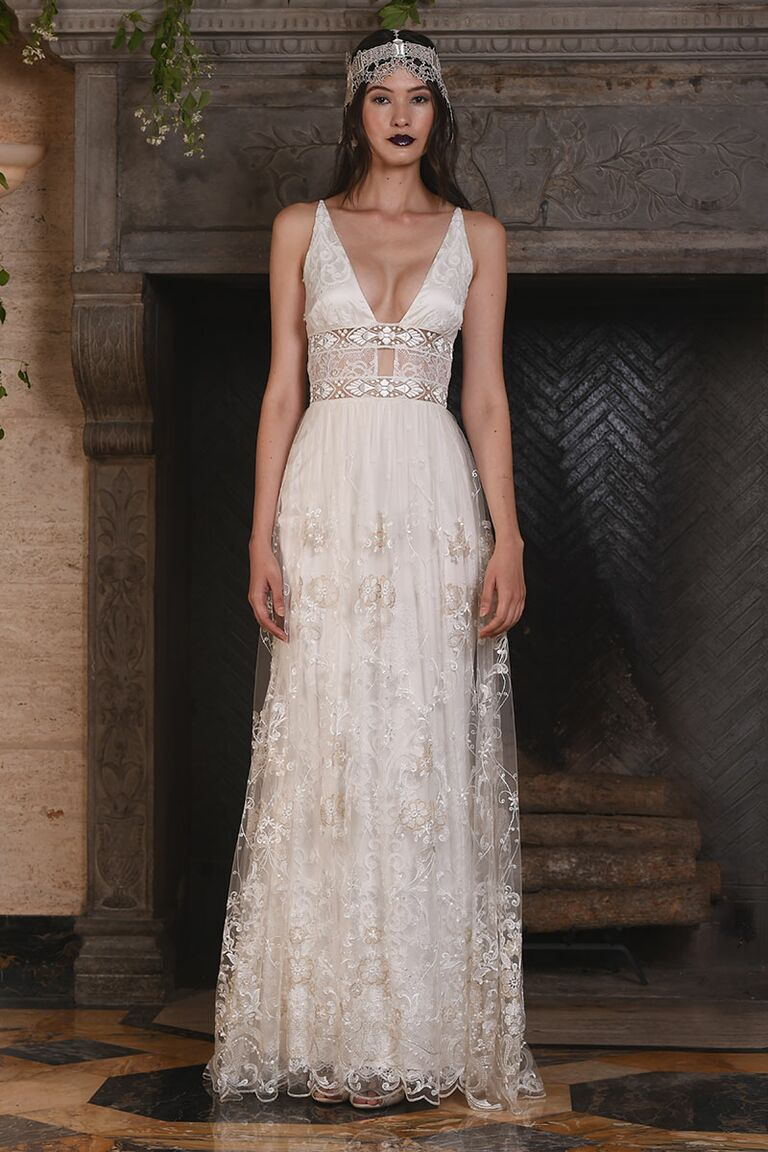 Claire pettibone fall 2017 collection bridal fashion week photos claire pettibone wedding dress with plunging neckline for fall 2017 junglespirit Choice Image
