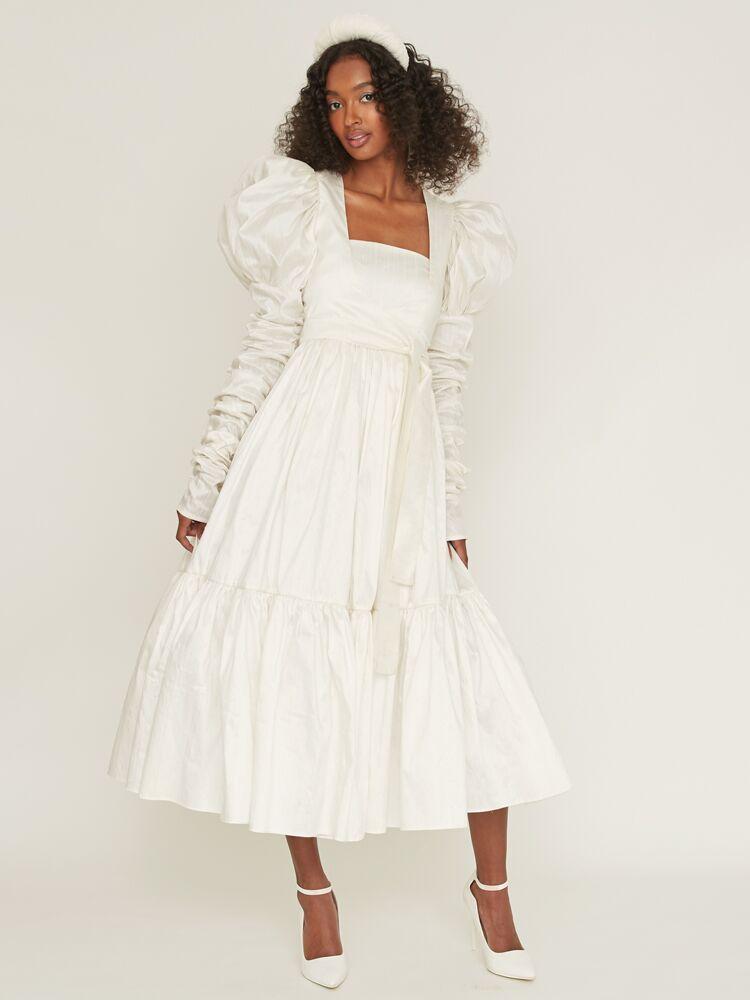 Odylyne The Ceremony midi dress with puff sleeve bolero