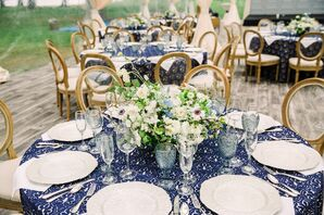 Printed Blue and White Table Cloths