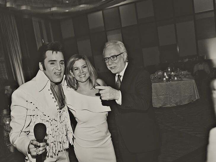 Elvis impersonator, Brianna Keilar and Wolf Blitzer at Las Vegas wedding