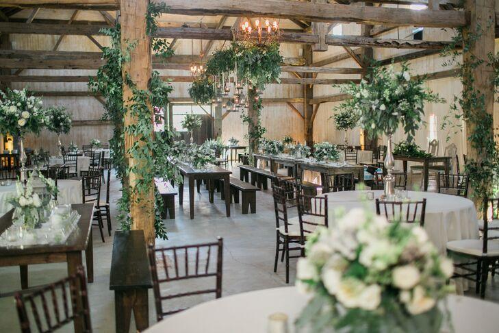 Natural Chandelier Grover Barn Reception