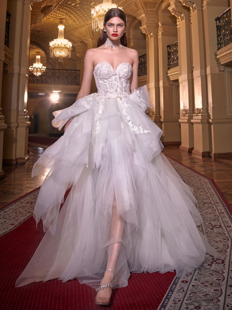 Galia Lahav Spring 2020 Bridal Collection glam wedding dress with a fitted bodice and tiered tulle skirt
