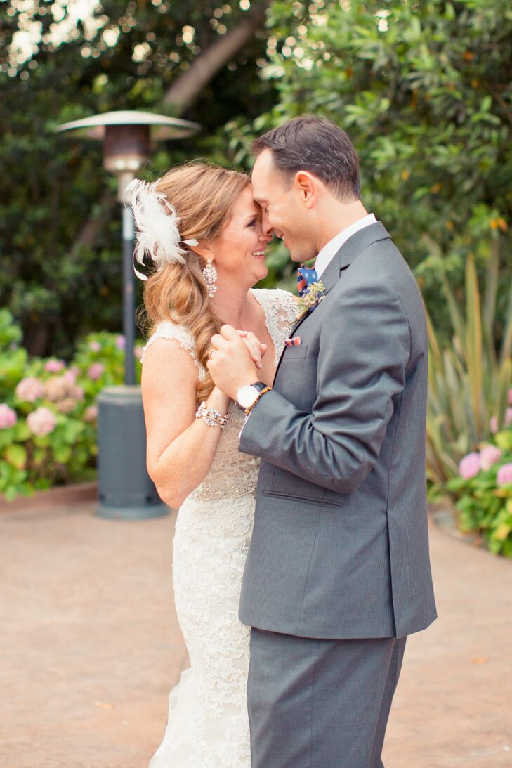 As Sophie and Ryan took their first dance, Sophie's dangling earrings with crystal accents shimmied. The earrings added a pop of glamour to her classic wedding attire, which was an ivory V-neck wedding dress covered in lace.