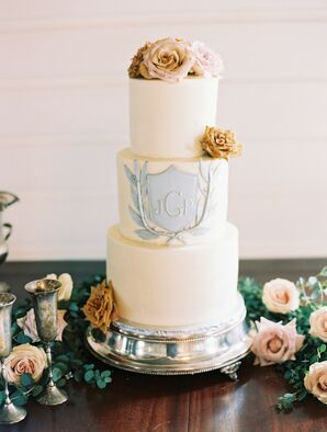Modern Hand-Painted Fondant Wedding Cake with Flowers