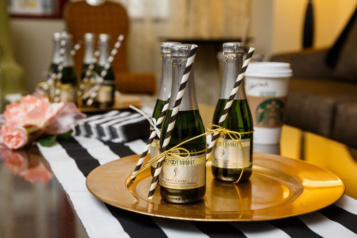 Champagne and Straws on Gold Plate