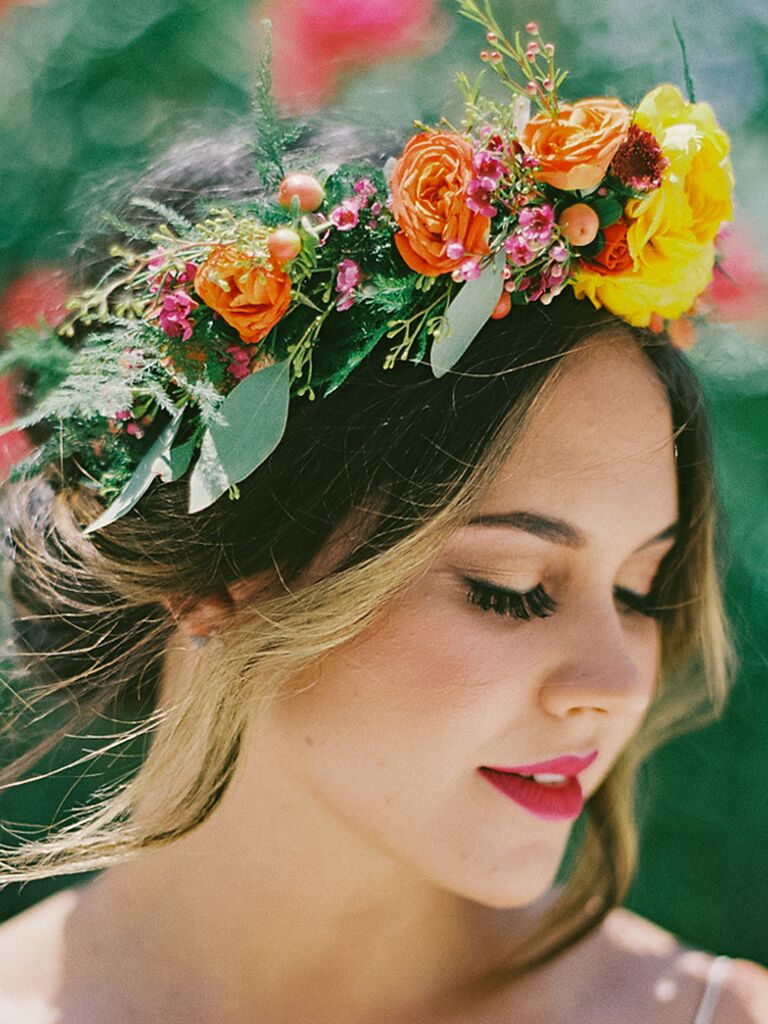 22 bridal flower crowns perfect for your wedding a big bright bohemian flower crown izmirmasajfo Choice Image