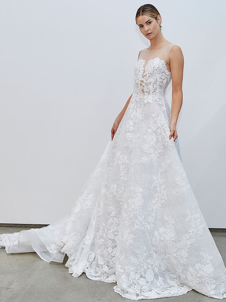 Francesca Miranda A-line wedding dress with lace bodice
