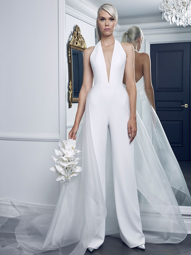 Romona Keveza Collection Fall 2018 wedding dress jumpsuit with a plunging neckline