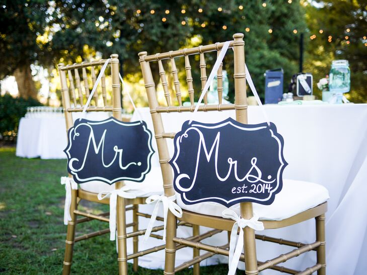 """Mr."" and ""Mrs."" Black and White Signs"