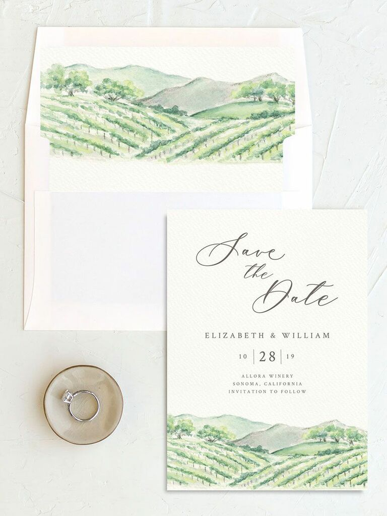 winery destination wedding save the date