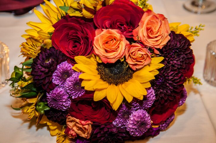 Red and Yellow Bouquet with Sunflower and Roses