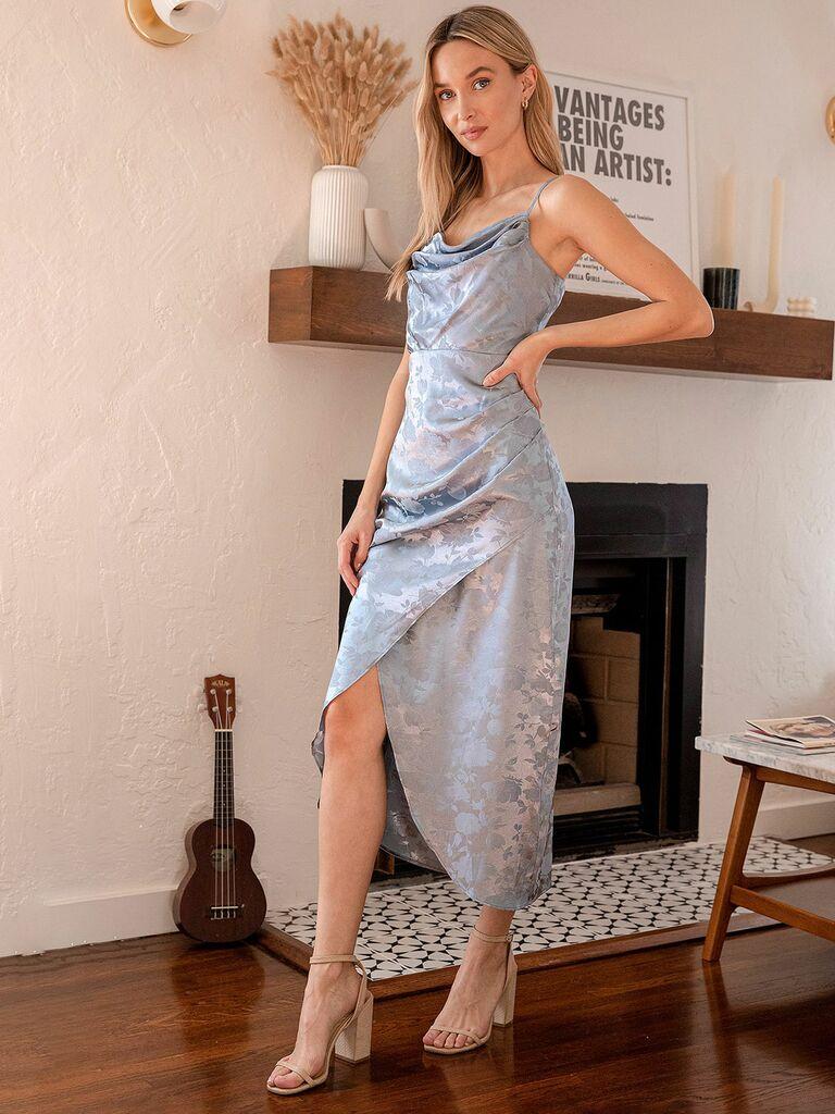 Lulus slate blue satin floral jacquard midi slip dress dress
