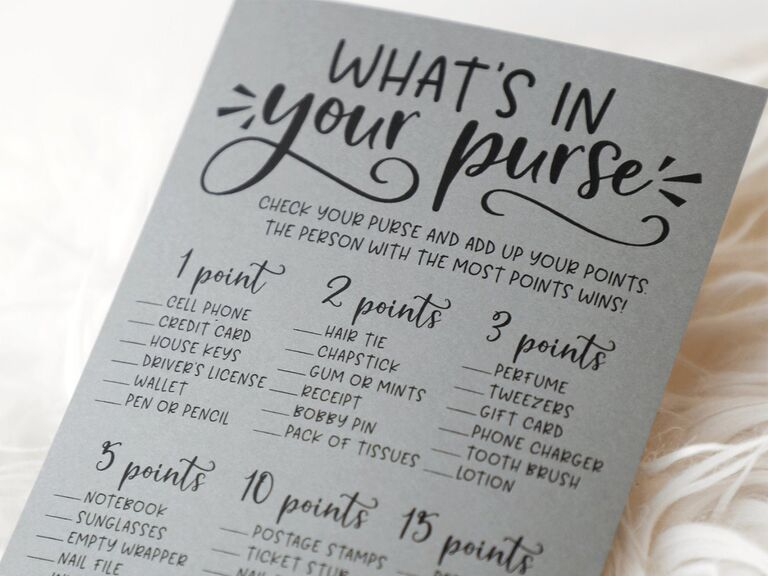 What's In Your Purse bridal shower printable game