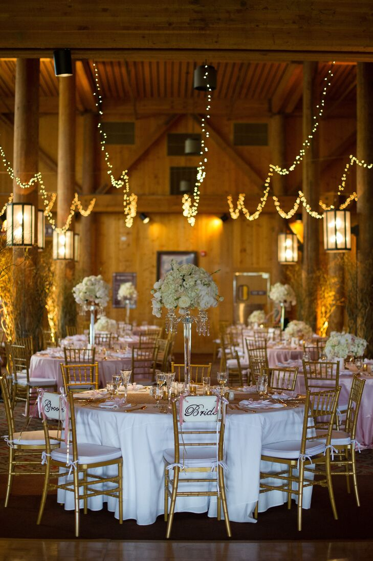 Rustic Reception with String Lights and Trumpet Vases