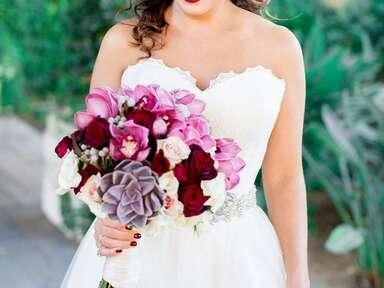 Romantic bridal bouquet with purple succulents