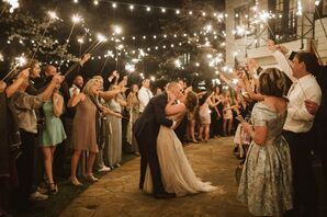Classic Sparkler Send-Off with Overhead String Lights