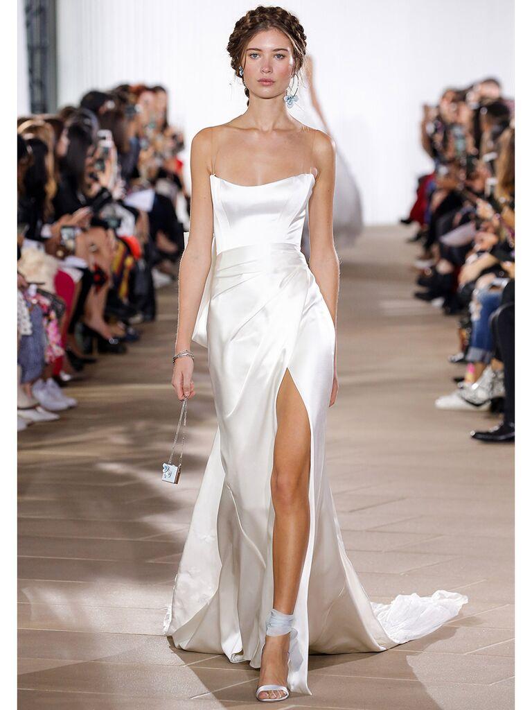Ines Di Santo wedding dress strapless gathered dress with slit
