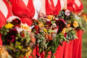 Rustic-Chic Red Bridesmaids Bouquets