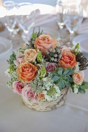 Orange Rose With Succulent Centerpiece
