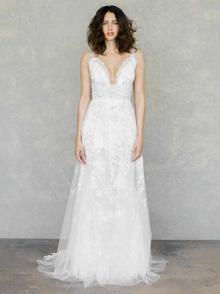 Claire Pettibone Spring 2019 tulle layered wedding dress with delicate lace straps