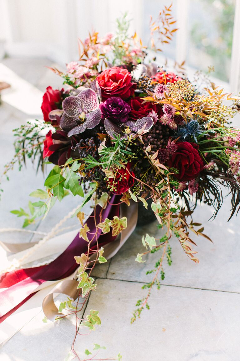 15 fall wedding bouquet ideas and which flowers theyre made with jewel toned purple and maroon fall wedding bouquet junglespirit Choice Image