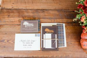Brown and Blue Plaid Wedding Invitations