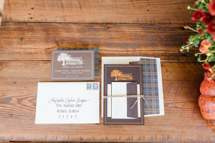 Brown and Blue Plaid Wedding Invitations