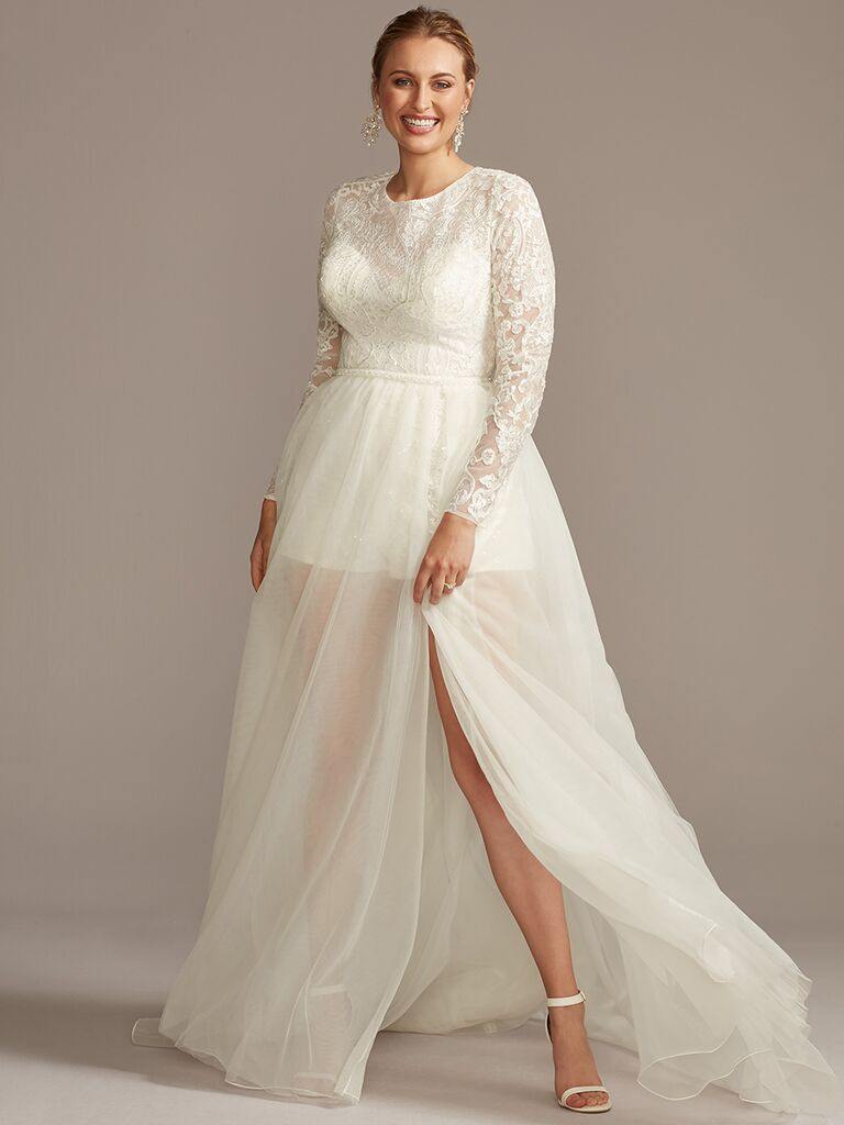 Galina Signature A-line wedding dress with long sleeves