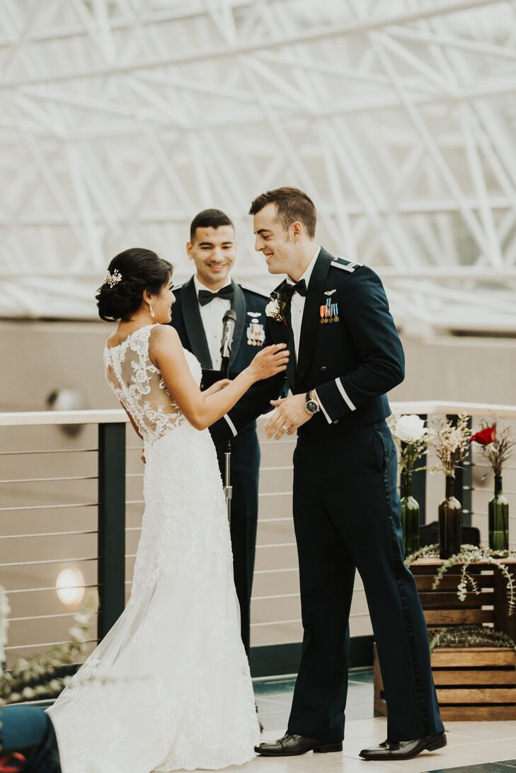"""My absolute favorite part of the wedding was being able to be married by one of our closest friends in front of all of our loved ones, by Matthew's favorite plane: the SR-71 Blackbird,"" says Amanda."