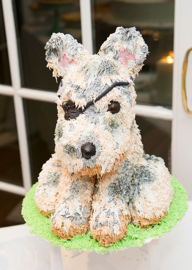Jo's aunt made a cake in the likeness of Jo and Robert's pet terrier for the groom's cake.