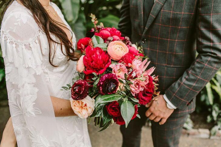 Vibrant Red-and-Pink Wedding Bouquet