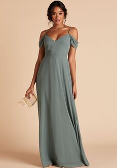 Birdy Grey Devin Convertible Dress in Sea Glass V-Neck Bridesmaid Dress