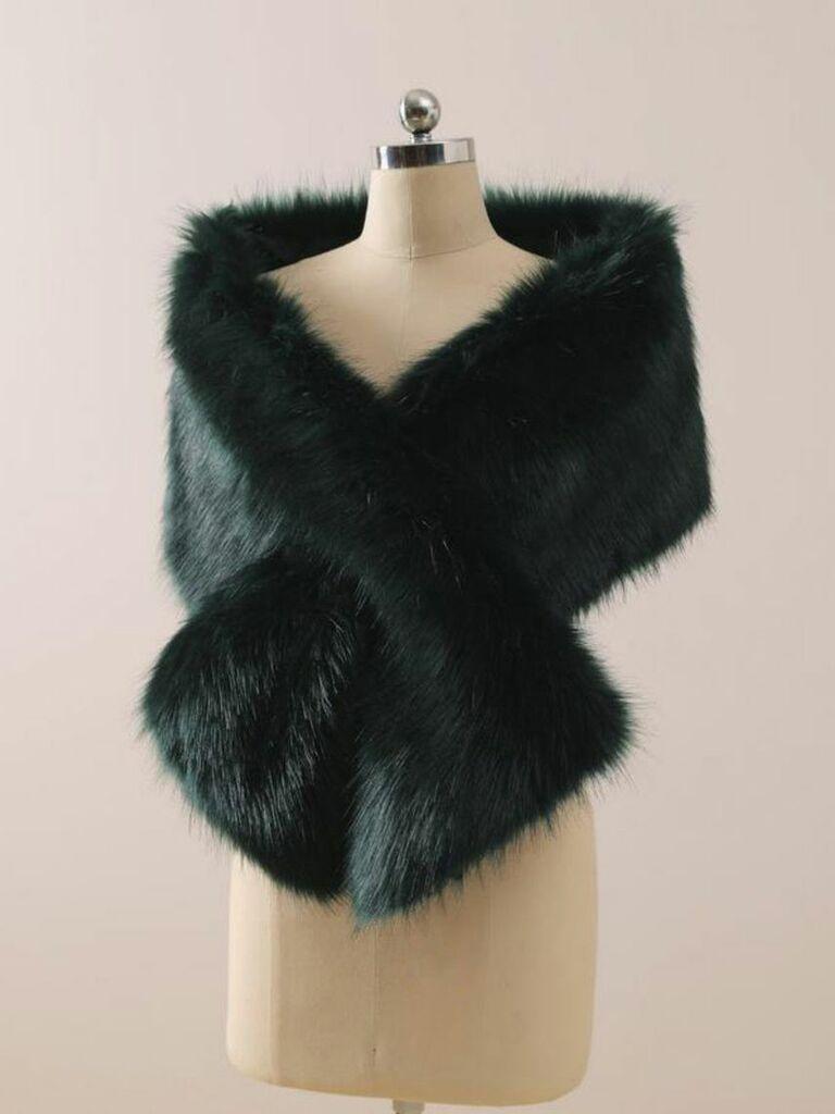 green faux fur stole
