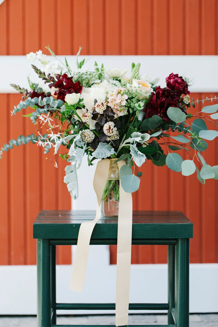 Eucalyptus, Lamb's Ear and Burgundy Peony Arrangement