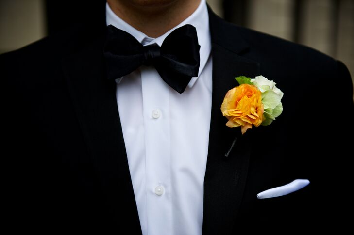 Summer-Inspired Orange and Green Boutonniere