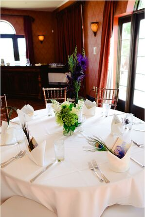 White, Green and Purple Table Decor