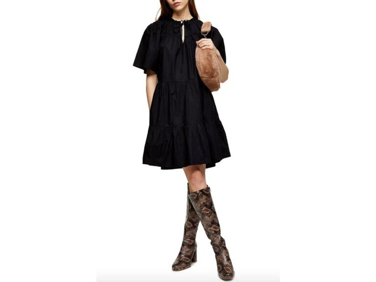 Black smocked poplin tiered mini dress