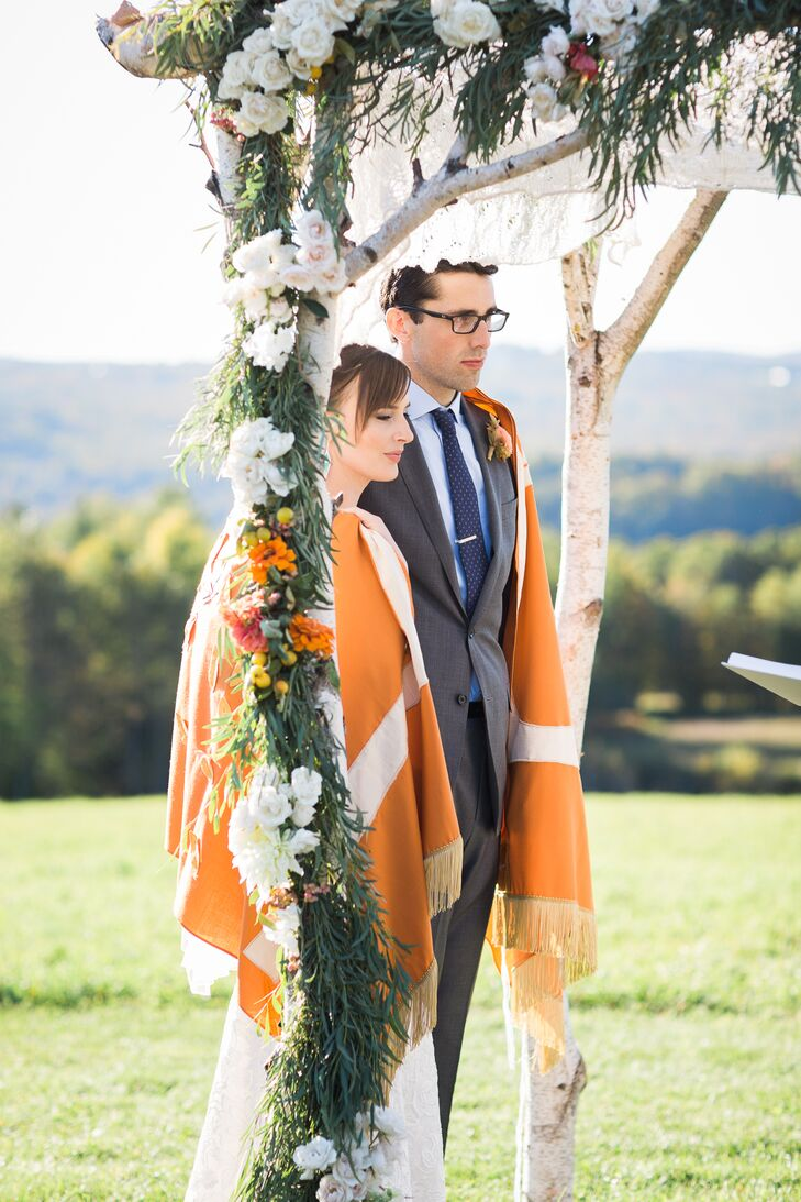 Bohemian Birch Chuppah and Orange Tallit