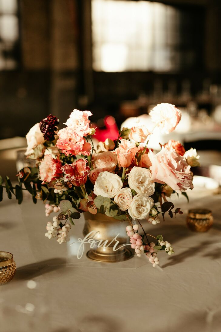Vintage Pink and White Garden Rose Centerpieces