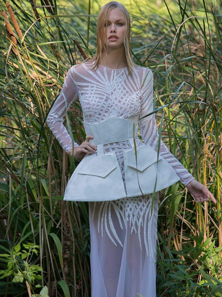 Persy Fall/Winter 2018 sheer sheath long sleeve wedding dress with corset-inspired peplum