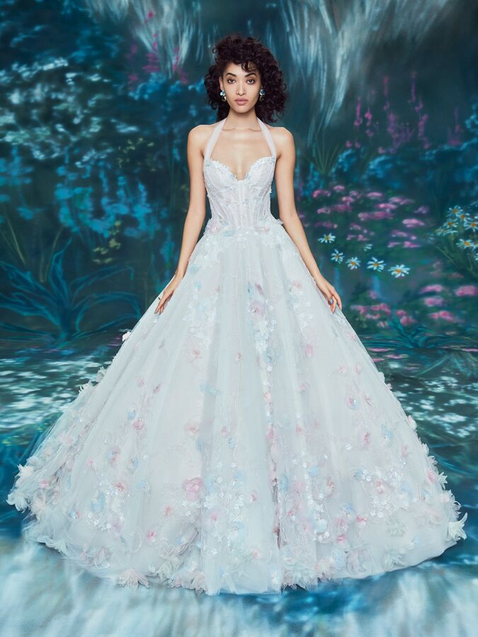 Ines Di Santo corset ball gown with pastel floral details